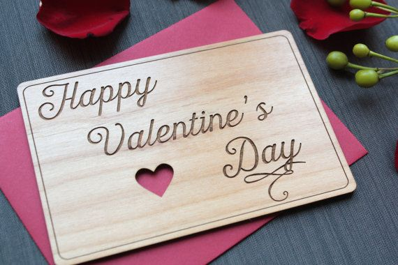 Wood Valentines Day Card  Valentines Day Greeting by TriElegance