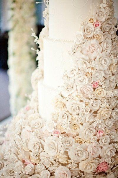 Flower covered cake