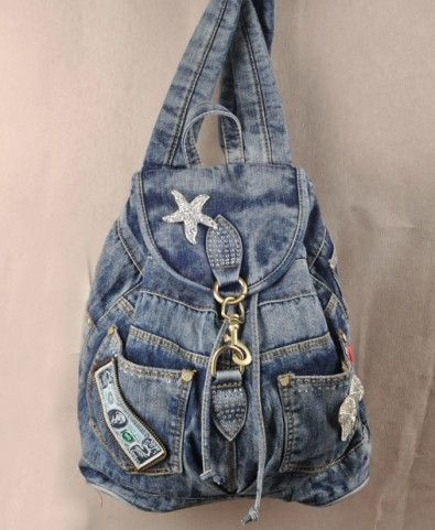 Vintage Diamante Denim Backpack