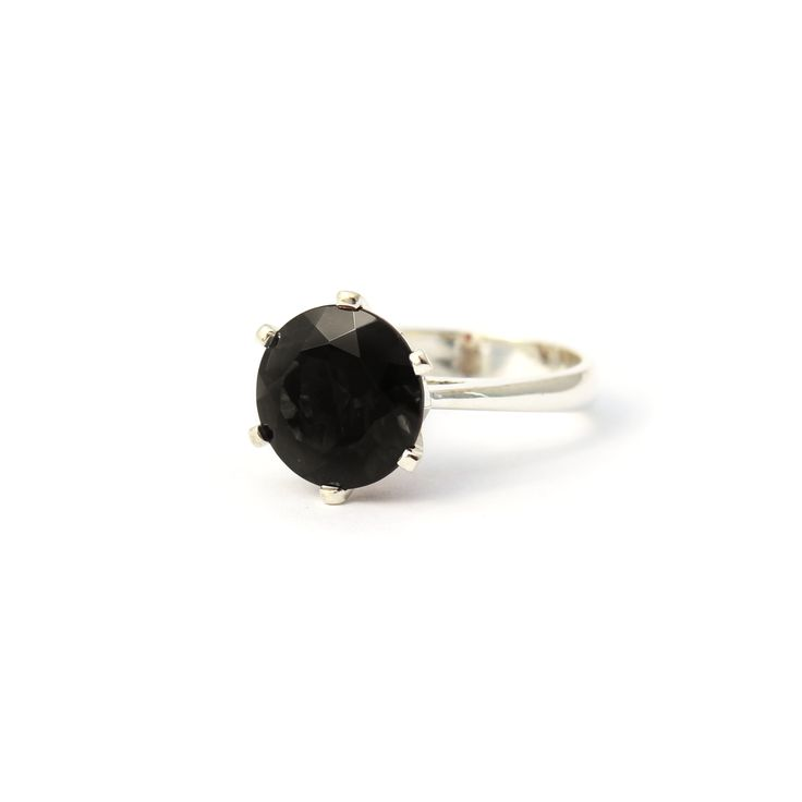 Enchanted Crown Ring Silver and Black Garnet | Handmade from sterling silver this stunning cocktail ring is set a 10mm Black Garnet.