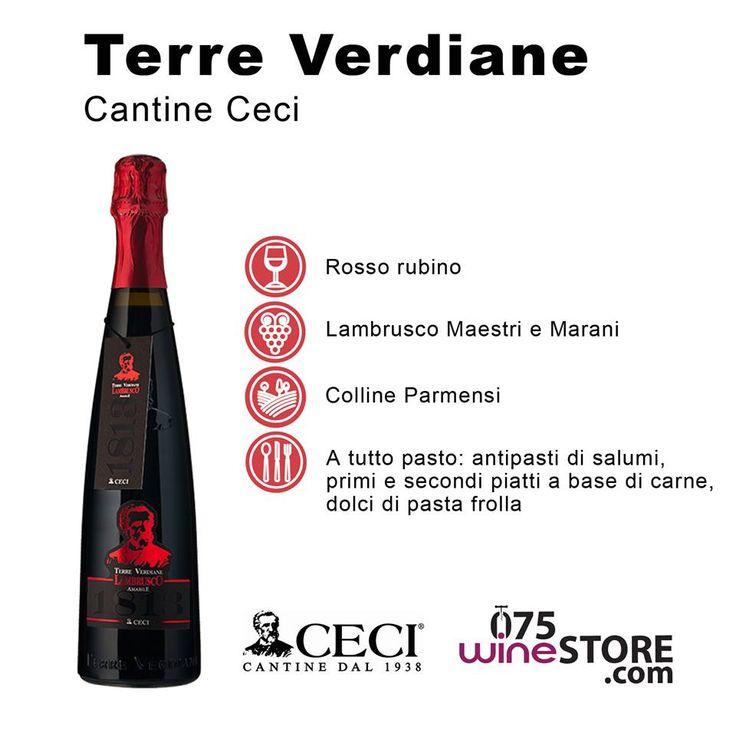 Un vino a tutto pasto, dedicato a chi ama i rossi morbidi e delicati. E' il #Lambrusco Terre Verdiane Cantine Ceci, nella versione amabile.  http://www.075winestore.com/terre-verdiane-lambrusco-amabile-cantine-ceci.html