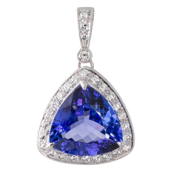 Tanzanite and Diamond Pendant. Shop December's birthstone online now at www.rutherford.com.au
