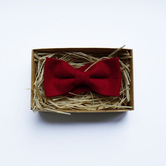 Men's Cherry red linen bow tie dark red wedding  by ArtOfLithuania