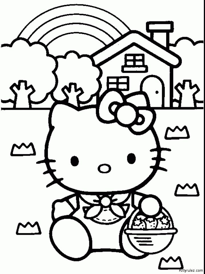 Hello Kitty And The Bear Travelling With Plaing Over The Sky Kids Hello Kitty Coloring Pages