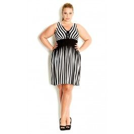 City Chic Sexy Stripe Dress - Make a statement in our Sexy Stripe Dress this summer. Boasting a flattering vertical black and white stripe print, this soft knit dress features a V-neckline with lace up detail, fitted waist to show off your gorgeous curves and a lined bodice. - Women's Plus Size Fashion City Chic - City Chic Your Leading Plus Size Fashion Destination #citychic #citychiconline #newarrivals #plussize #plusfashion #stripes