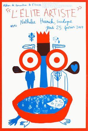Jennifer Bongibault et Nicolas Filloque, affiche pour l'atelier de rencontre avec Nathalie Heinich, Ensad, 40x60cm, sérigraphie 2 tons, févr...