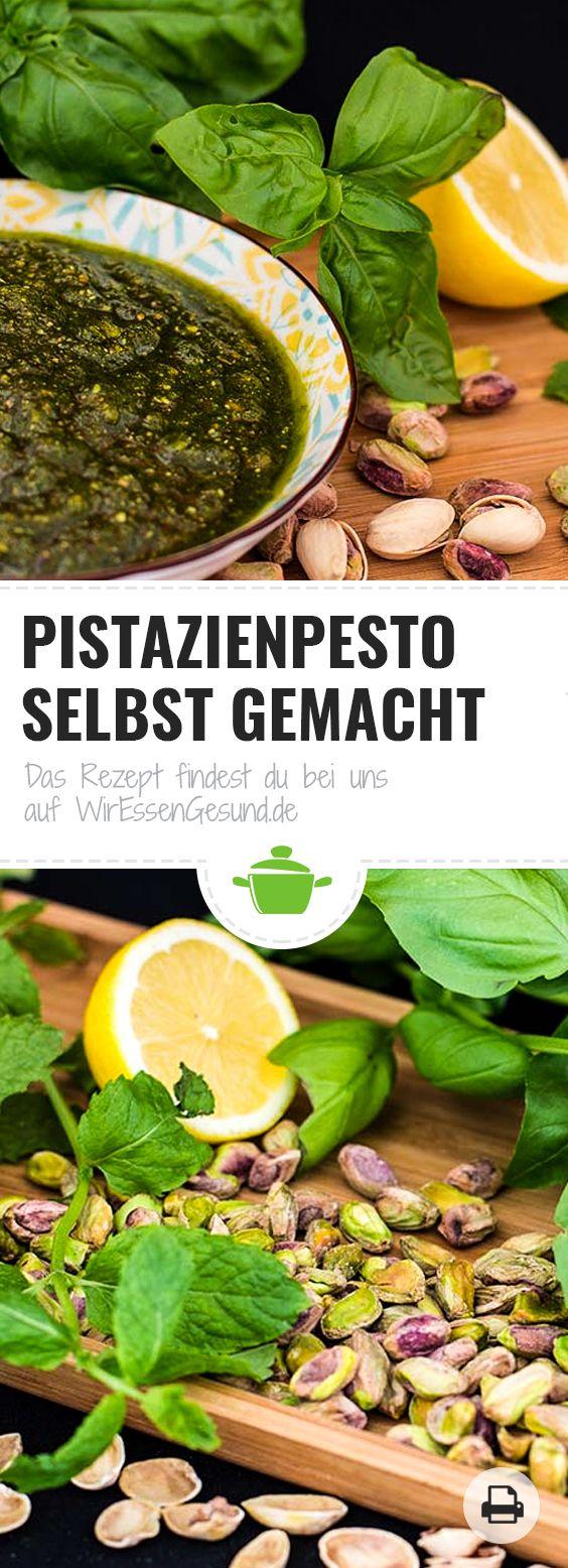 Pistazienpesto Rezept | Unser leckeres selbst gemachtes Pesto mit reichlich Pistazien! Das Rezept dazu findest du hier: http://www.wir-essen-gesund.de/pistazienpesto/