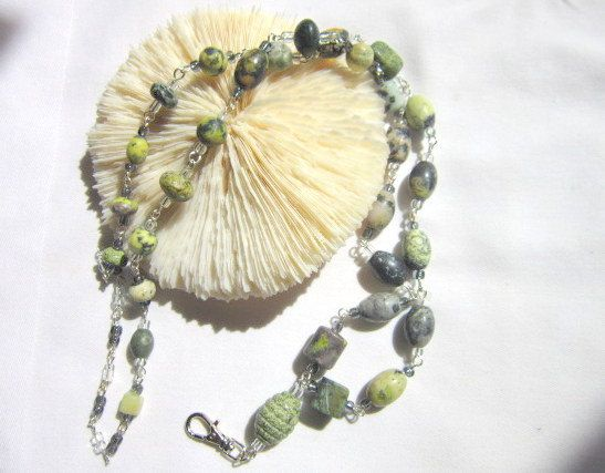 Green Tree Agate Lanyard ID Holder Beaded Badge Holder  ID