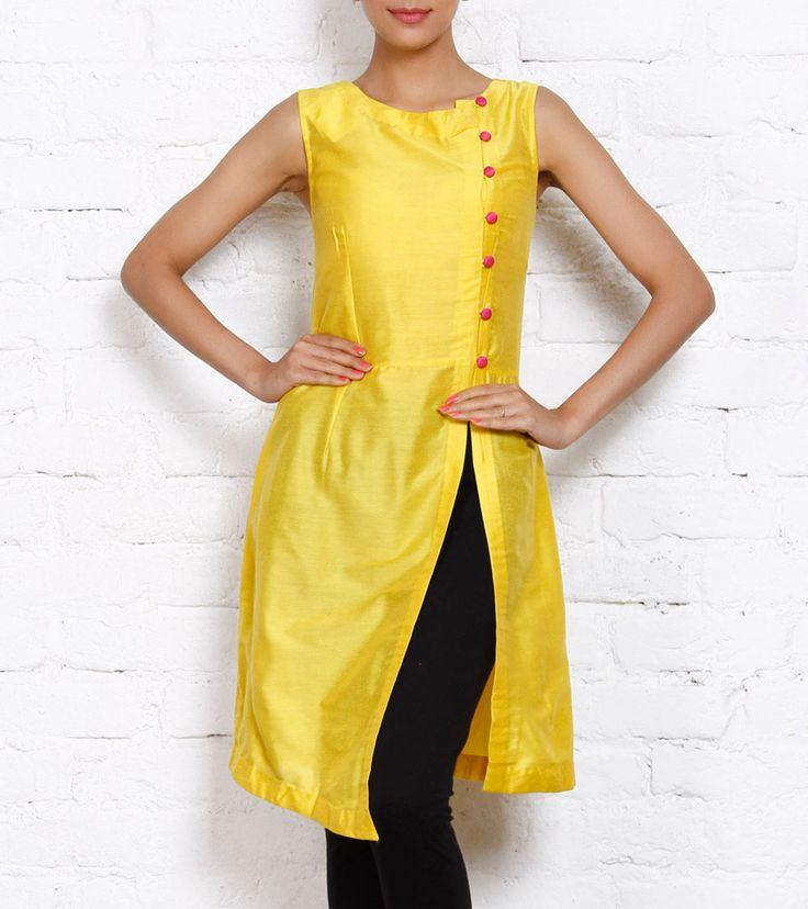 Yellow Cotton Silk Dress