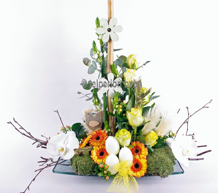 spring is in the air. a playfull arrangement in easter colors