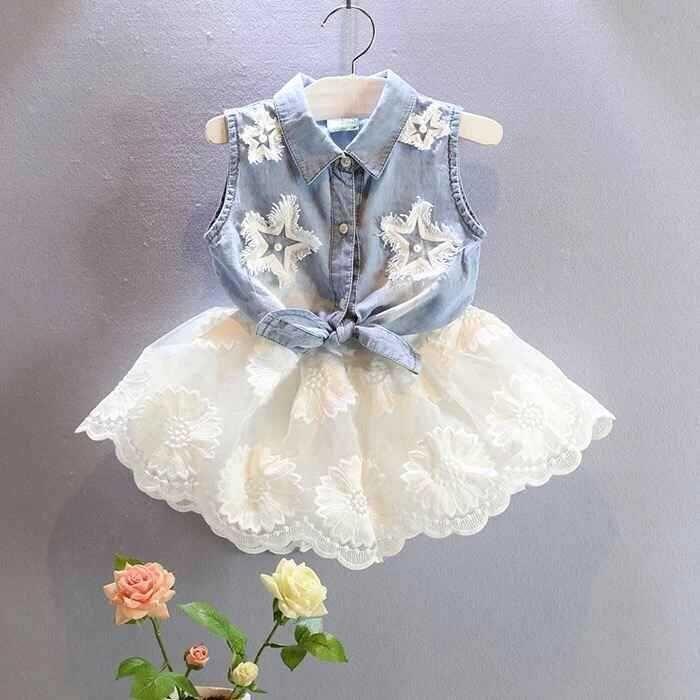 Sistema de la ropa de Las nuevas muchachas babymmclothes denim vest + muchachas de la falda de gasa blanca ropa(China (Mainland))