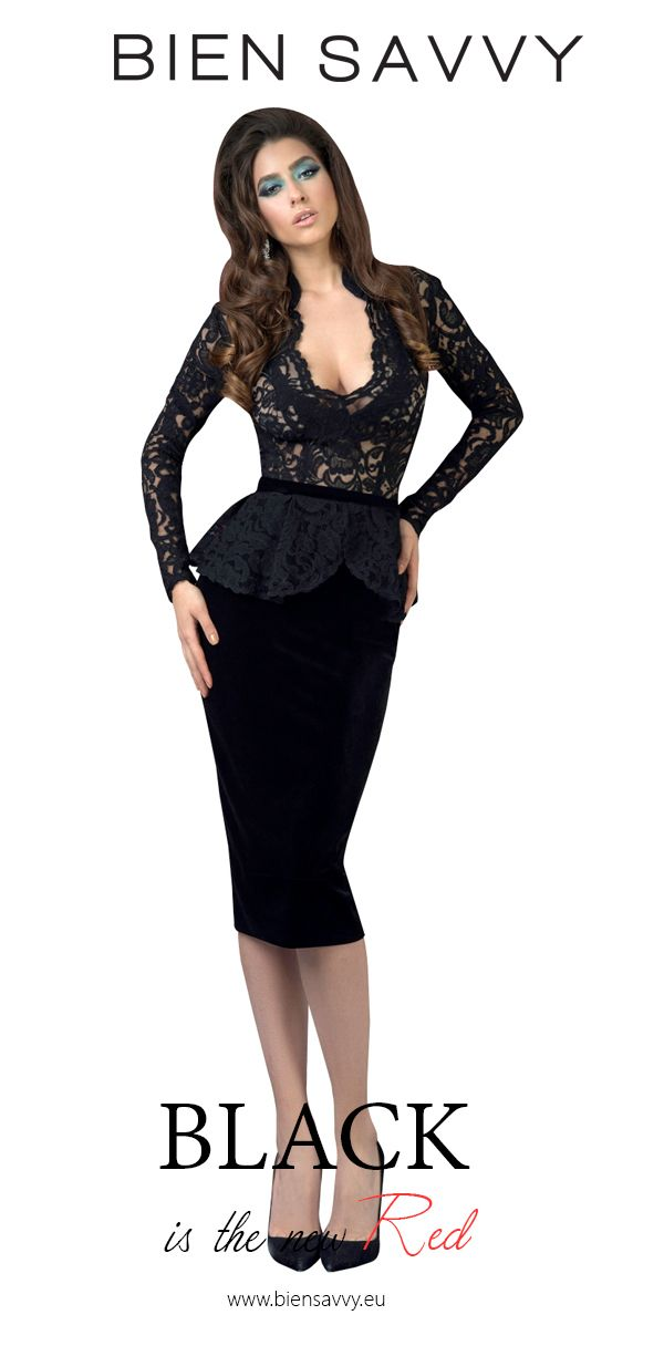 Black is the new Red.  Follow Your Man, black and lace velvet cocktail dress by BIEN SAVVY