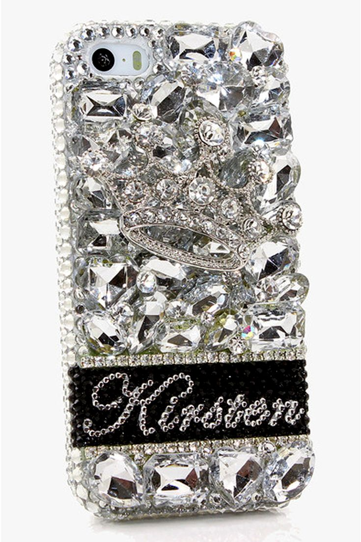 Silver Crown Personalized Case Design New iPhone 5 5s 5c bling phone covers vintage crystals style for girls