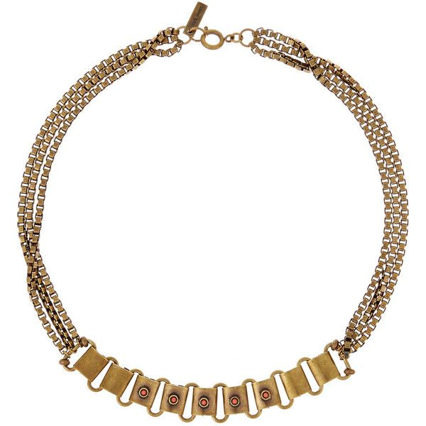 Isabel Marant Brass and cabochon choker ($98) ❤ liked on Polyvore featuring jewelry, necklaces, metallic, isabel marant necklace, brass jewelry, choker necklace, isabel marant jewelry and brass necklace
