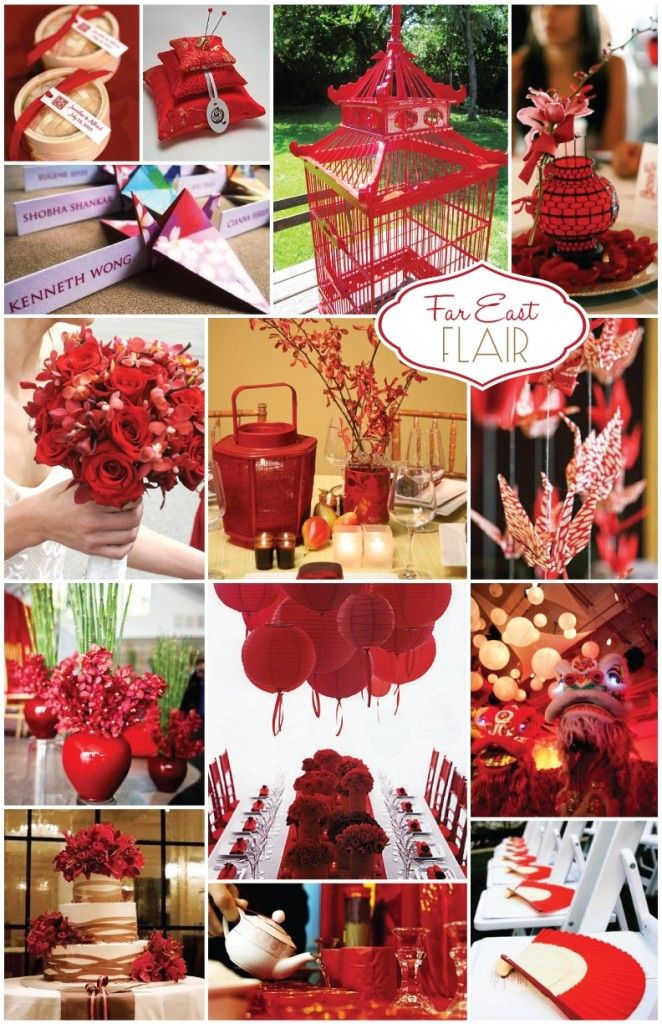 The color red plays a vital role in Asian weddings because it is considered to be a lucky romance color. It also symbolizes love, prosperity and happiness.