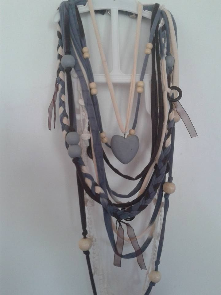 Brown, Beige and Grey T-Shirt Scarf Necklace with wooden Beading