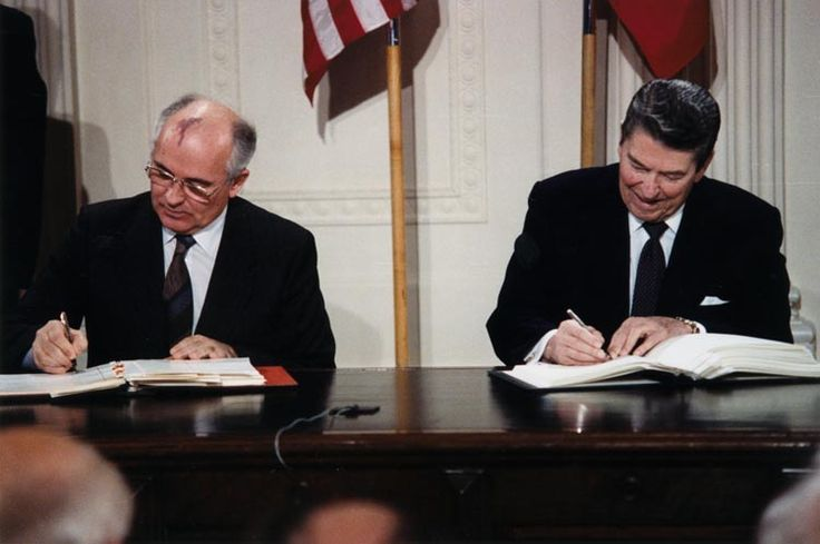 U.S. President Ronald Reagan and Soviet General Secretary Mikhail Gorbachev signing the INF Treaty in the East Room at the White House in 1987 The Intermediate-Range Nuclear Forces Treaty (INF) is a...
