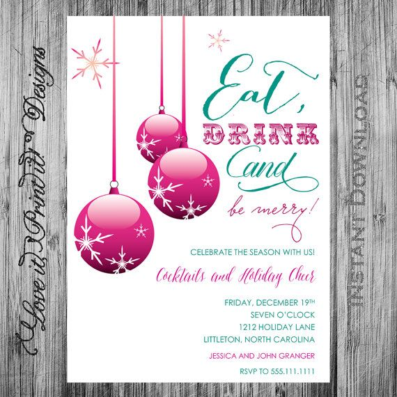 holiday invitation diy template eat drink by