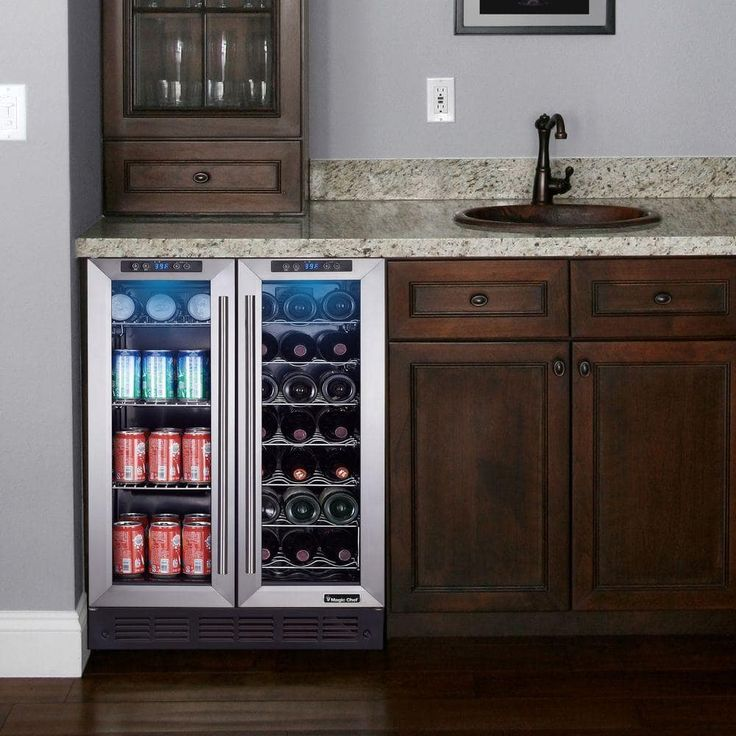 "Magic Chef 24"" Built-In French Door Dual Zone Wine and Beverage Cooler Secondary Image  34.4""H x 23.4""W x 24.6""D"