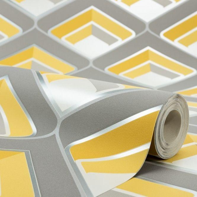 Retro Geometric 3d Effect Wallpaper Mustard Grey Geometric 3d Wallpaper Wallpaper Uk