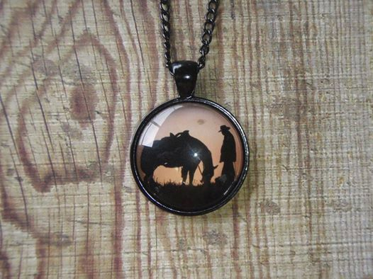 Horse and Rider silhouette necklace by NixieNooDesigns on Etsy