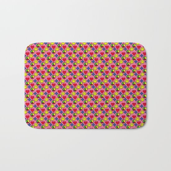 Positivity Peace Joy Happiness PINK Bath Mat by Stonedreams53 | Society6