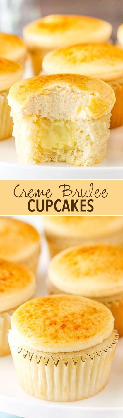 Creme Brulee Cupcakes! Moist vanilla cupcakes with pastry cream filling topped with caramel frosting and caramelized sugar! | Dessert Recipe