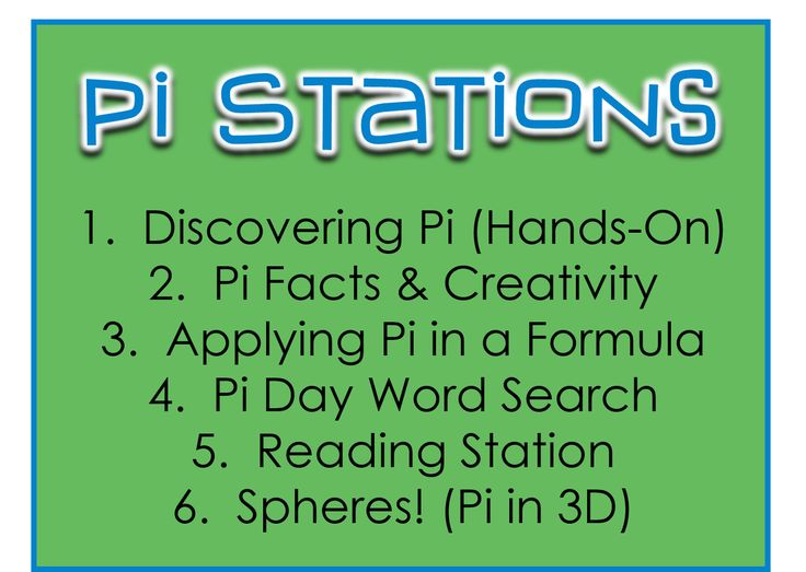 Pi Day Stations Wish I'd seen this before pi day...bring on next year