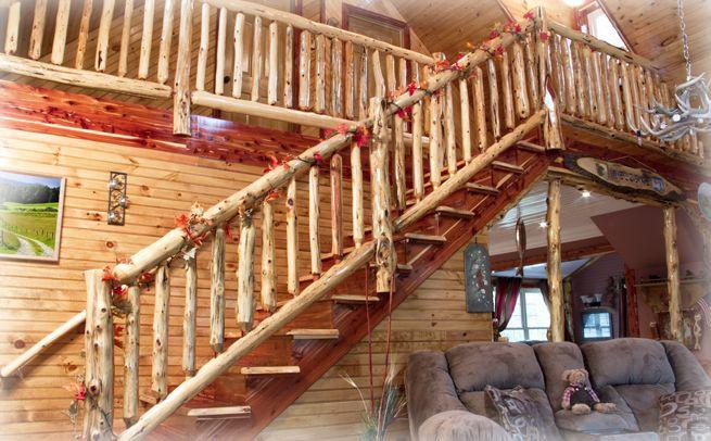 Log stairs.