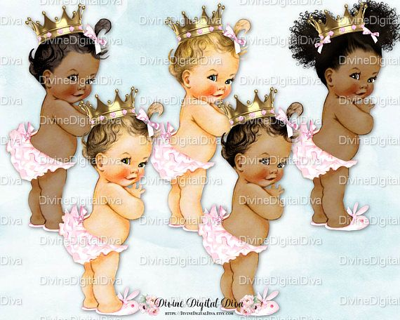 Clipart Instant Download Princess Ruffle Pants Pink Pants Gold Crown Baby Girl 3 Skin Tones