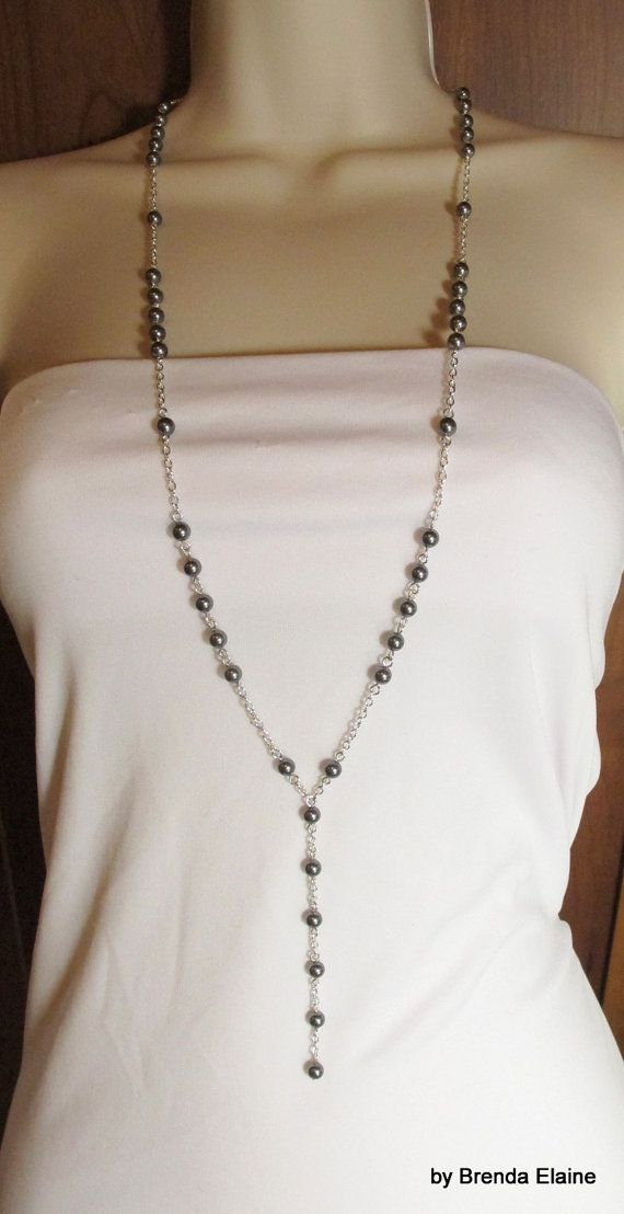 A bit of Downton Abbey Flair-Long Pearl Necklace with a Y and Matching by byBrendaElaine, $35.00