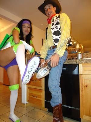 Homemade Woody and Buzz Lightyear Couple Costumes