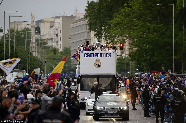 Thousands lined the streets leading to the Plaza de Cibeles in the centre of Madrid to welcome home their European Cup-winning heroes