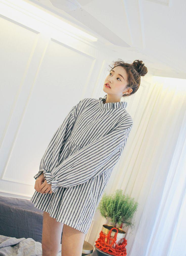 Ruffle Trim Striped Mini Dress | STYLENANDA