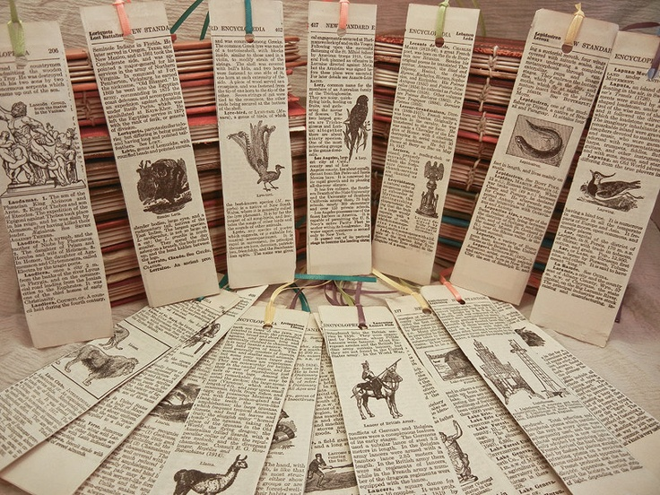 handmade recycled vintage encyclopedia bookmarks
