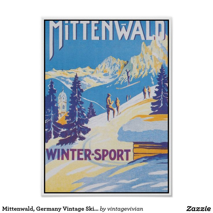 Mittenwald, Germany Vintage Ski Travel Poster