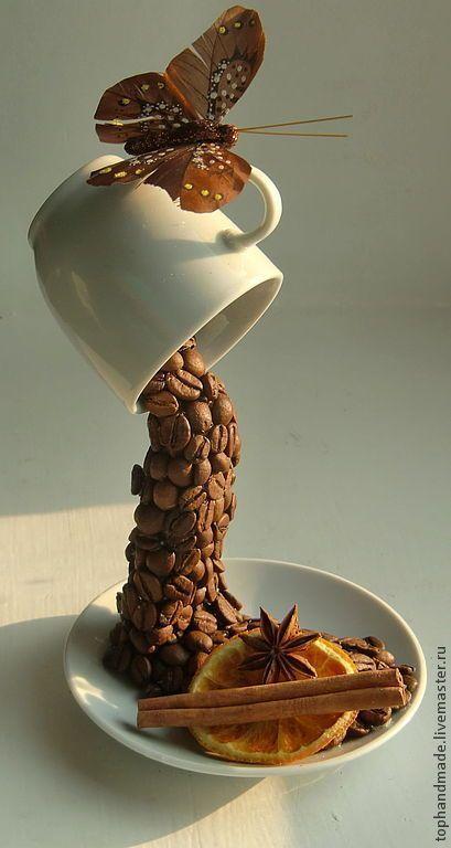 Купить Летнее утро - коричневый, кофе, кофейный, мокко, Кофейный топиарий, кофейная чашка