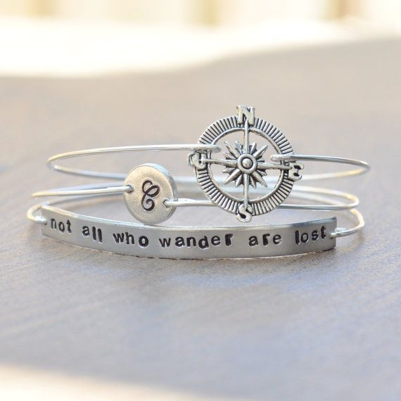 Not all who wander are lost - Graduation Jewelry - Traveller's Jewelry - set of 3 stamped bangles - initial monogram disk, compass…