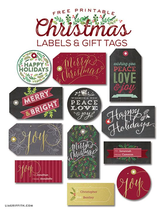 Leuke labels voor kerst! Free download of very nice Christmas labels and Tags! Thank you Lia Griffith!