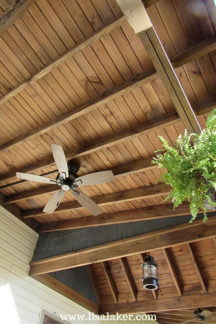 lisa laker interior designporch ceiling ideas stained porch ceiling exposed trusses carsiding ceiling - Beliebt Burokuche Aufbau