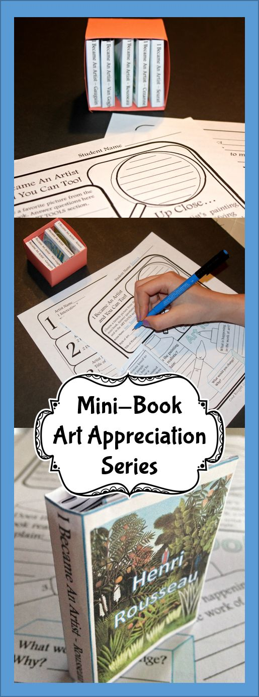 Art Appreciation on a budget. You get 5 mini books introducing your students to 5 Post Impressionist artist with factual information and color reproductions. Students love these tiny little books. Start you mini library today! Handouts included to help students study each artist closely. Inexpensive way to get valuable information into the hands of every student.