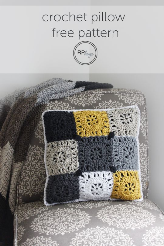 Free Square Button Pillow Crochet Pattern || by Rescued Paw Designs #home #diy #tutorial