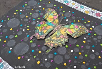 JCC challenge - http://jehkotarcraftchallenge.blogspot.fi/ MixedMedia, Tim Holtz, Ranger, Butterfly, Washitape / perhonen, washi-teippi