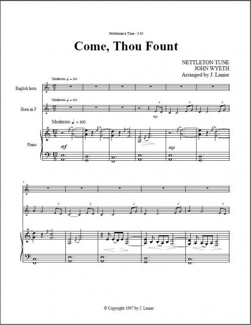 $15 Come Thou Fount for English horn, Horn, Piano (alternate instrumentation available)