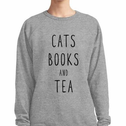 Cats Books and Tea Grey Women's Jumper