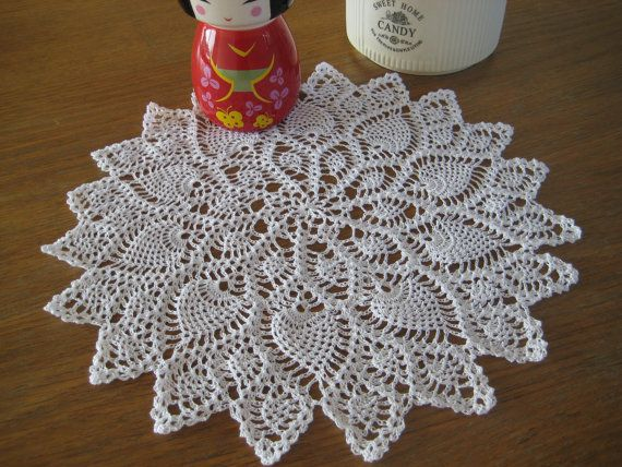 Doily Pineapple White Cotton Crocheted  diameter by MinnieCreation, €17.28