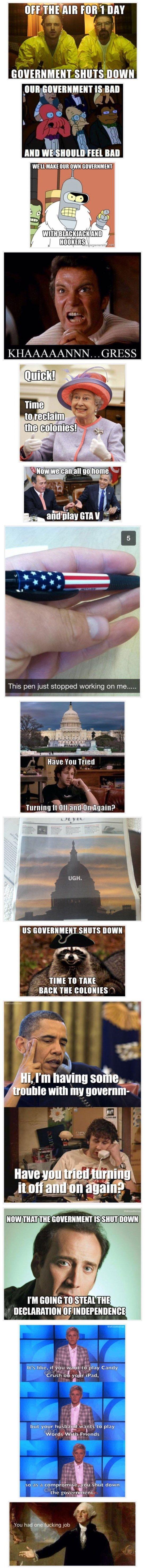 15 Funniest USA Government Shutdown #Memes http://ibeebz.com