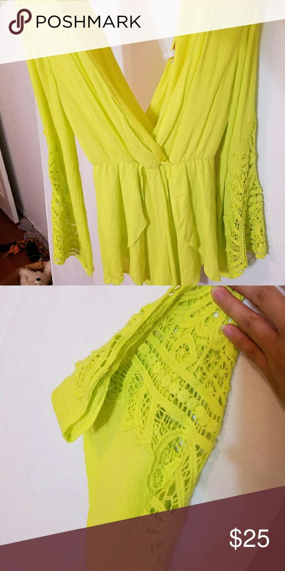 Crochet romper Bright yellow green romper, shorter on the sides and have crochet detail sleeves. Absolutely beautiful and great for summer, festivals, parties Dresses Mini