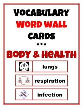 Word Wall Vocabulary Cards: Human Body & Health - TpT #wordwall #vocabulary #humanbody #healtheducation