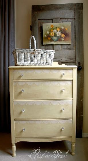 Chalk Paint® Decorative Paint by Annie Sloan Cream Dresser with Hand Painted Scalloped Design in Old White by Girl in Pink